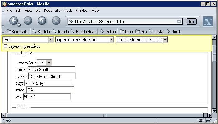 Insertion and Deletion of XML data represented by HTML form